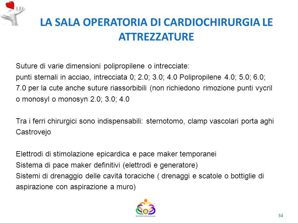 LA SALA OPERATORIA DI CARDIOCHIRURGIA LE ATTREZZATURE
