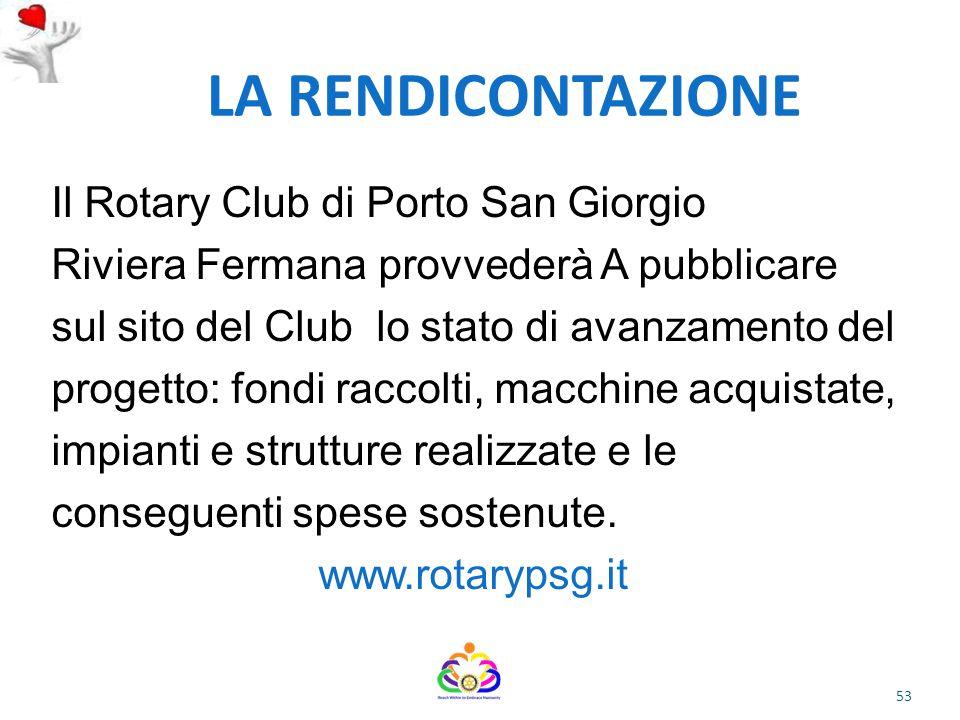 LA RENDICONTAZIONE Il Rotary Club di Porto San Giorgio
