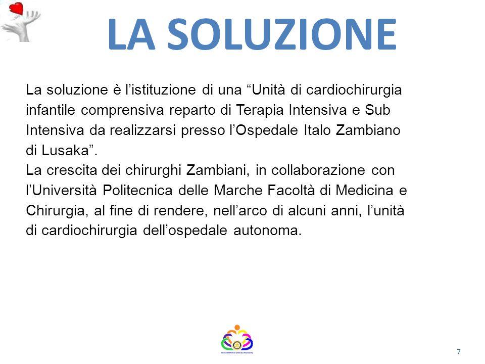 04/07/12 LA SOLUZIONE. La soluzione è l'istituzione di una Unità di cardiochirurgia. infantile comprensiva reparto di Terapia Intensiva e Sub.
