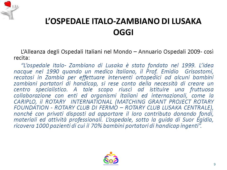 L'OSPEDALE ITALO-ZAMBIANO DI LUSAKA OGGI