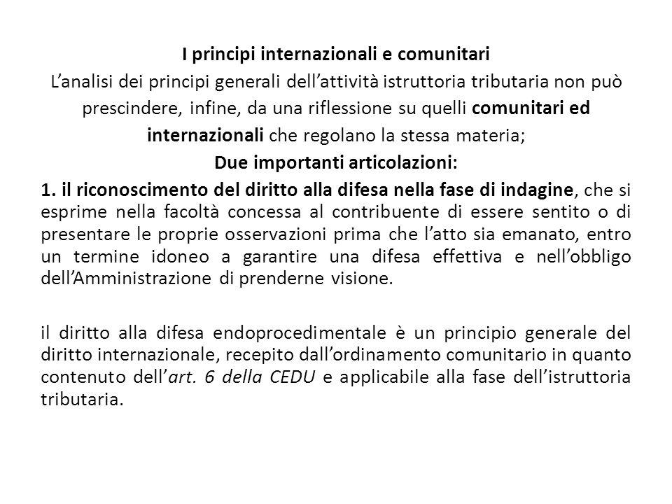 I principi internazionali e comunitari