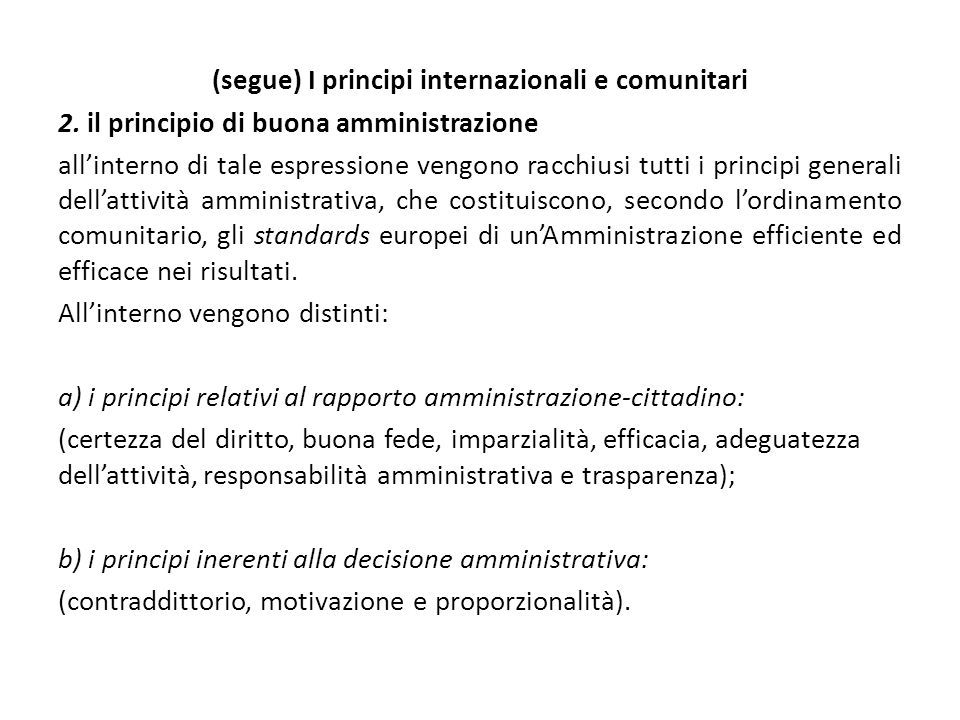 (segue) I principi internazionali e comunitari 2