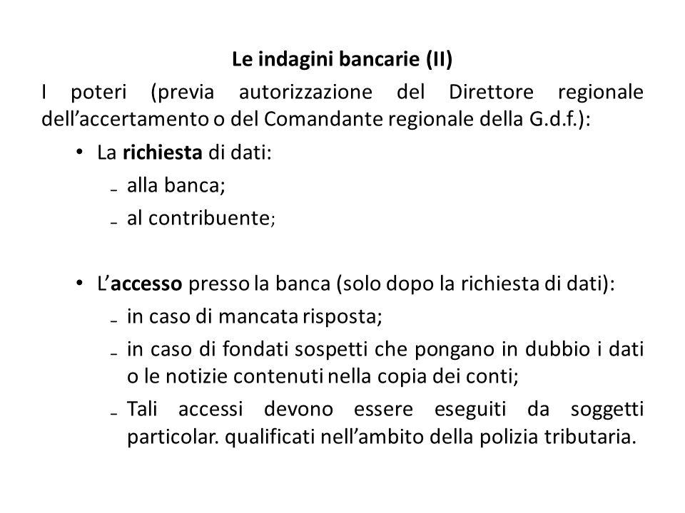 Le indagini bancarie (II)