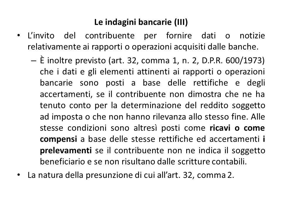 Le indagini bancarie (III)