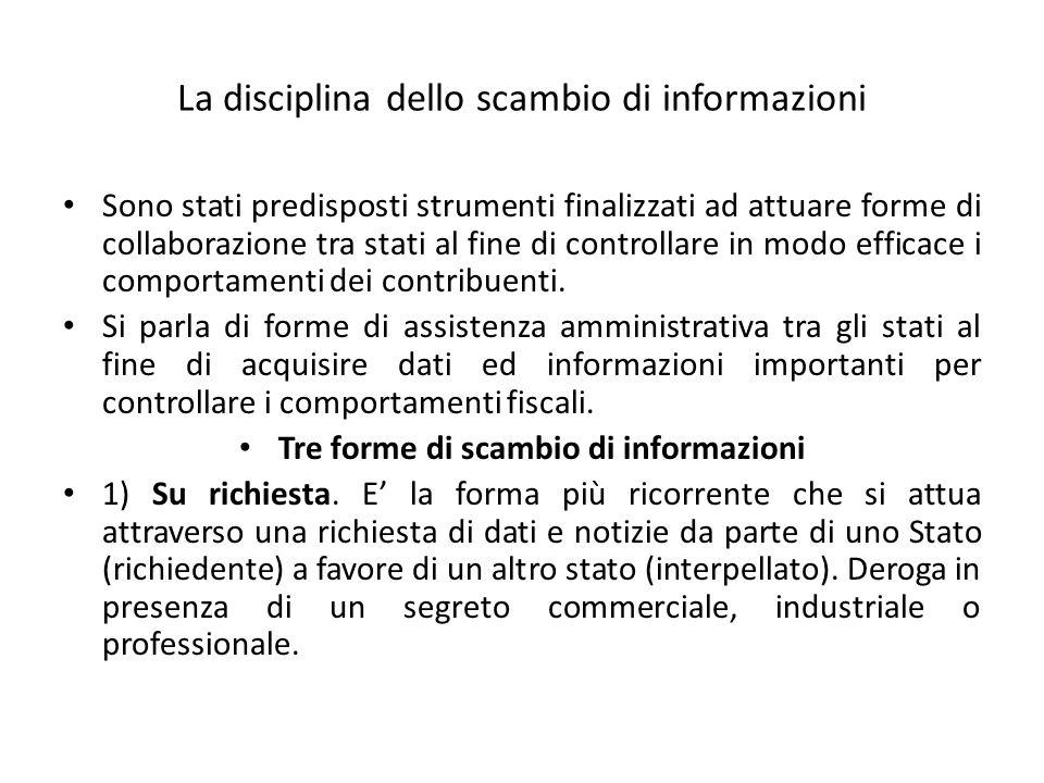 La disciplina dello scambio di informazioni