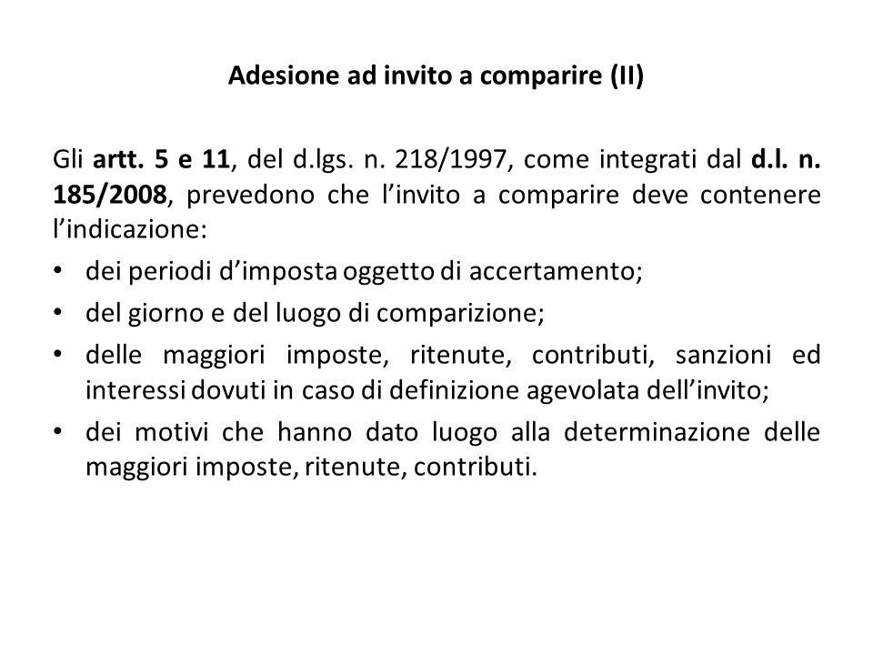 Adesione ad invito a comparire (II)