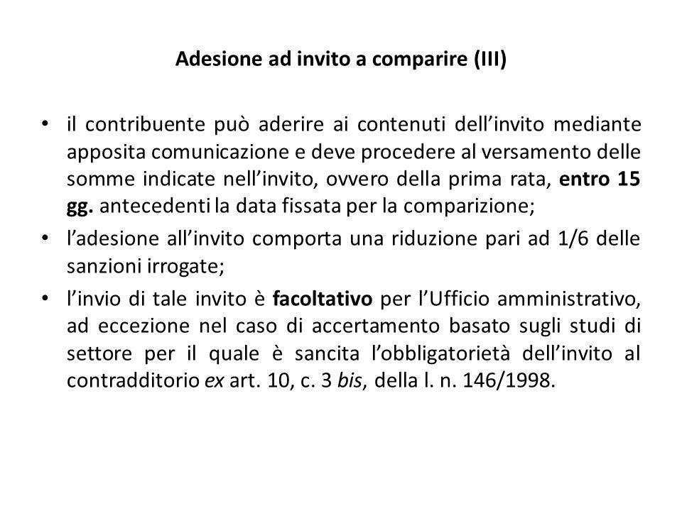 Adesione ad invito a comparire (III)