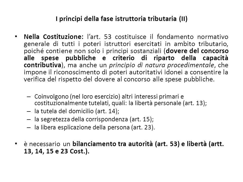 I principi della fase istruttoria tributaria (II)
