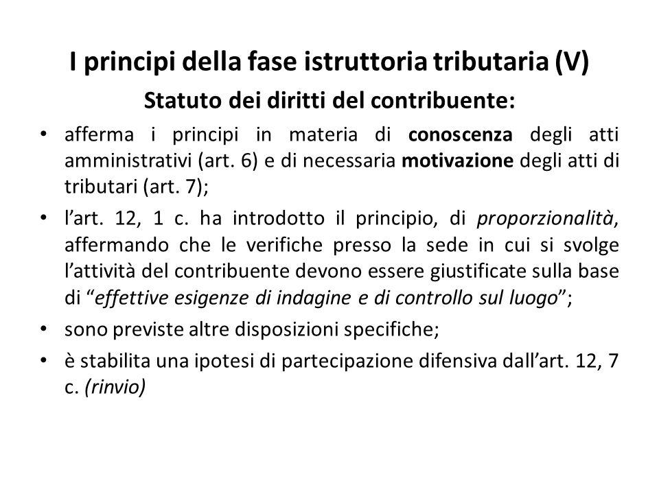 I principi della fase istruttoria tributaria (V)