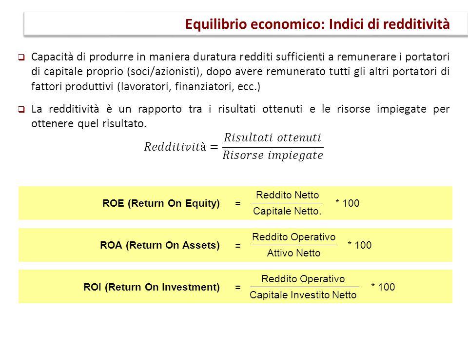 Equilibrio economico: Indici di redditività