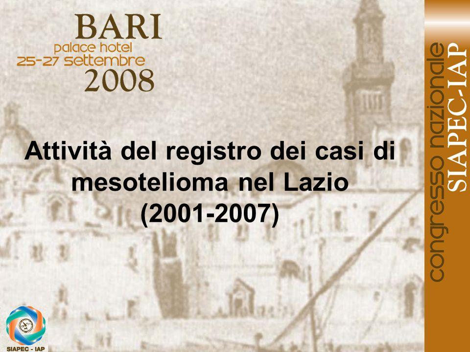 Attività del registro dei casi di mesotelioma nel Lazio