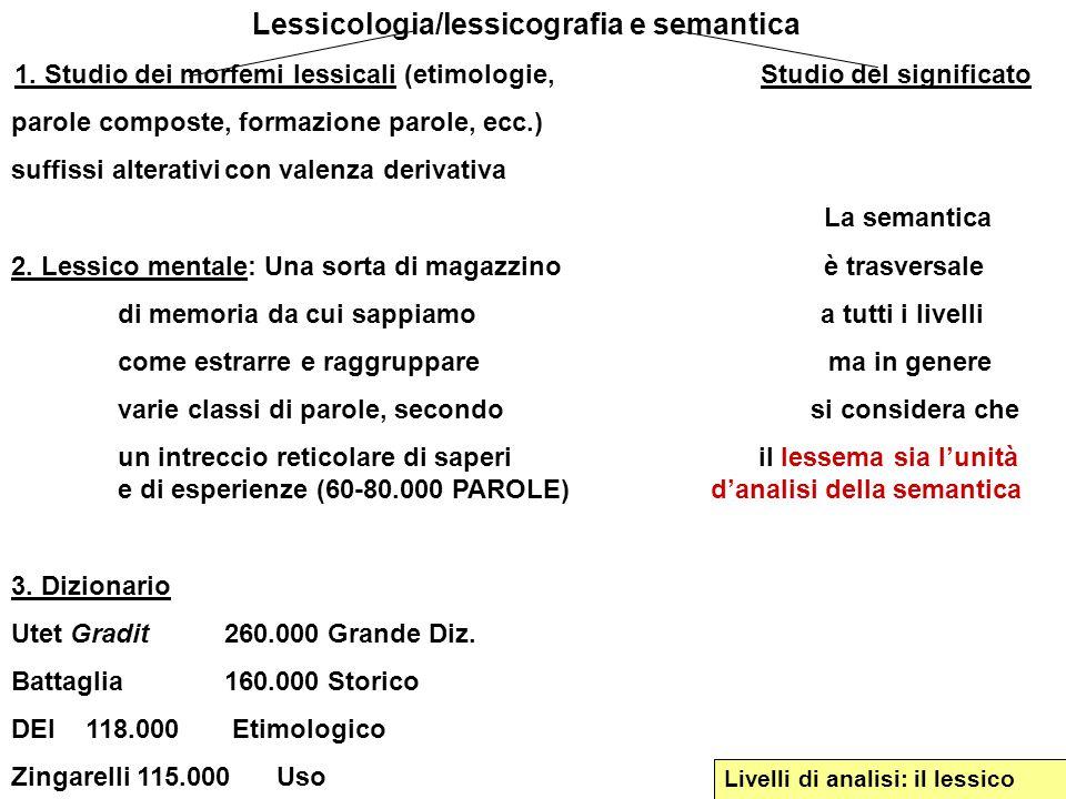 Lessicologia/lessicografia e semantica