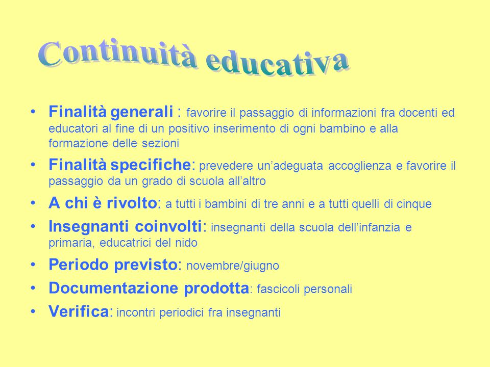 Continuità educativa