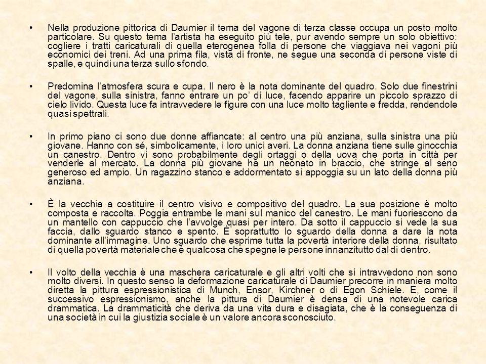 Nella produzione pittorica di Daumier il tema del vagone di terza classe occupa un posto molto particolare. Su questo tema l'artista ha eseguito più tele, pur avendo sempre un solo obiettivo: cogliere i tratti caricaturali di quella eterogenea folla di persone che viaggiava nei vagoni più economici dei treni. Ad una prima fila, vista di fronte, ne segue una seconda di persone viste di spalle, e quindi una terza sullo sfondo.