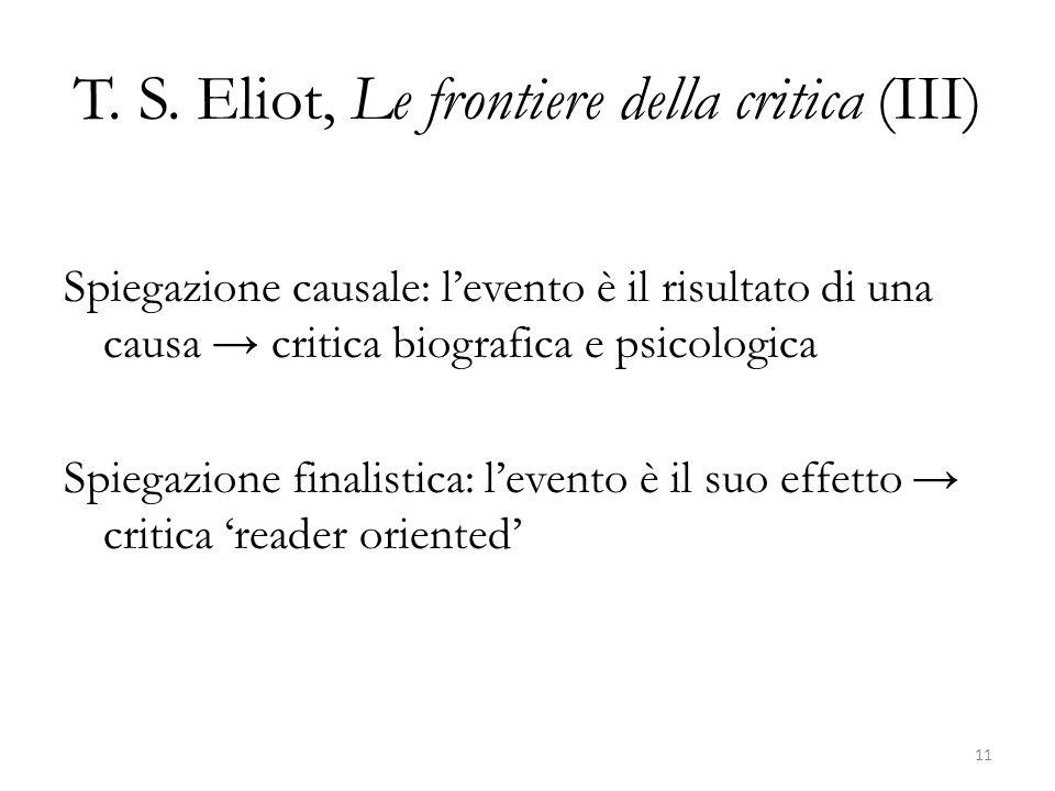 T. S. Eliot, Le frontiere della critica (III)