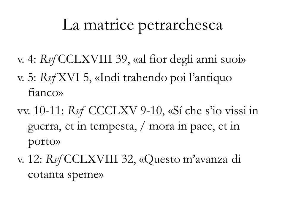 La matrice petrarchesca
