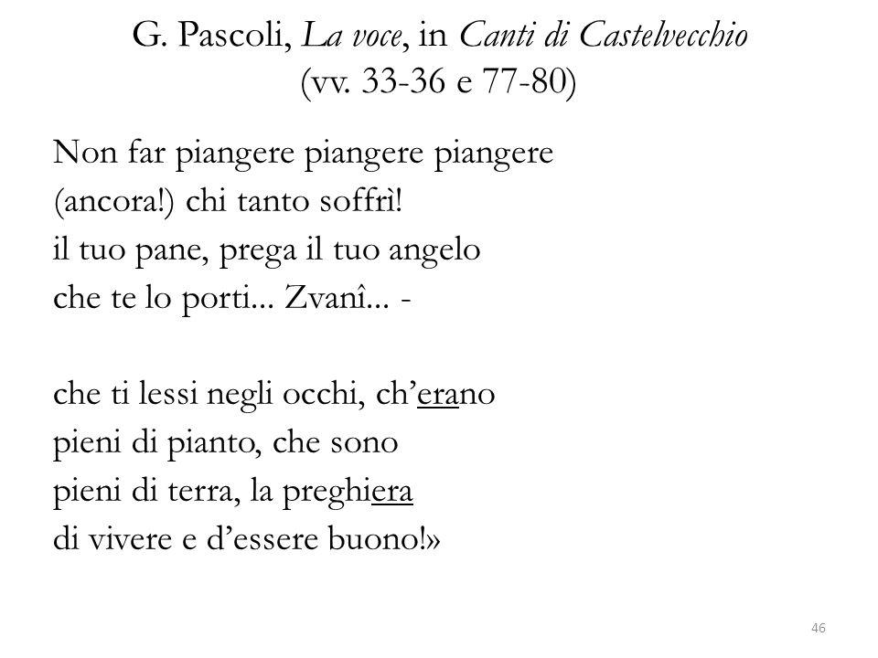 G. Pascoli, La voce, in Canti di Castelvecchio (vv. 33-36 e 77-80)