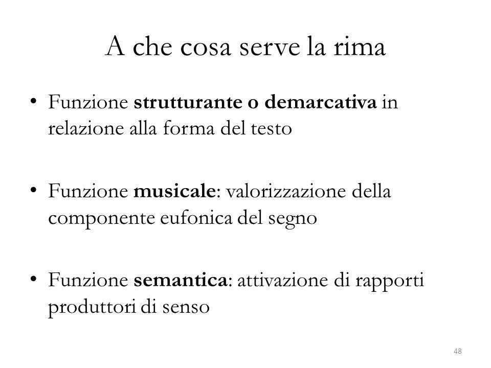 A che cosa serve la rima Funzione strutturante o demarcativa in relazione alla forma del testo.
