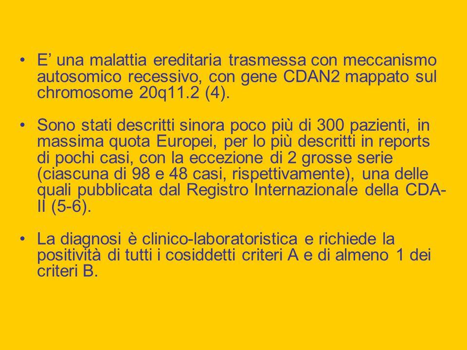 E' una malattia ereditaria trasmessa con meccanismo autosomico recessivo, con gene CDAN2 mappato sul chromosome 20q11.2 (4).