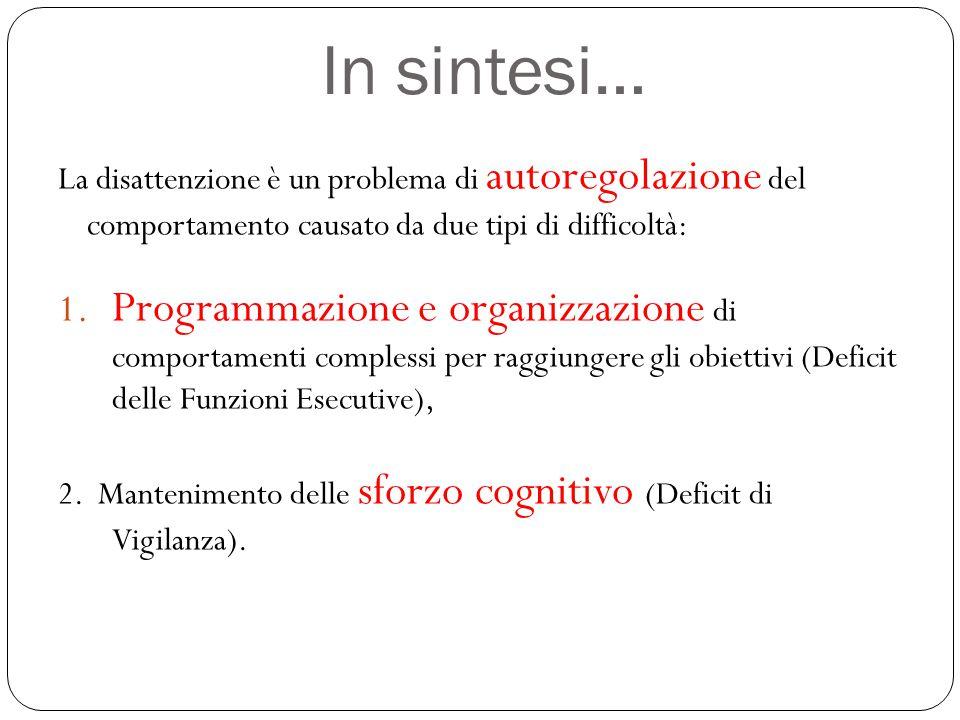 In sintesi… La disattenzione è un problema di autoregolazione del comportamento causato da due tipi di difficoltà: