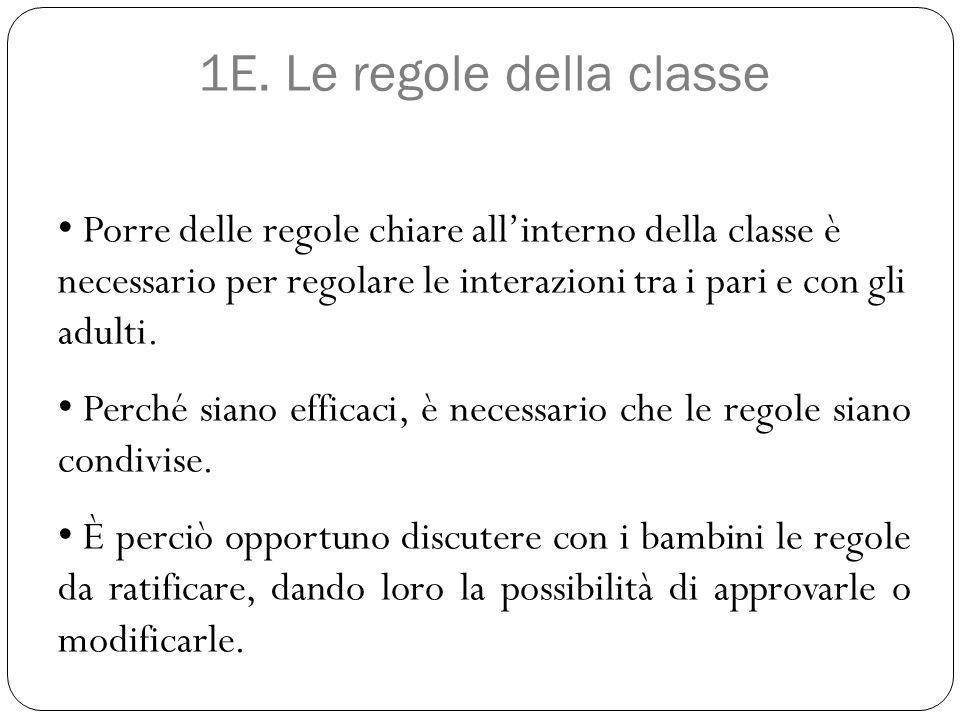 1E. Le regole della classe