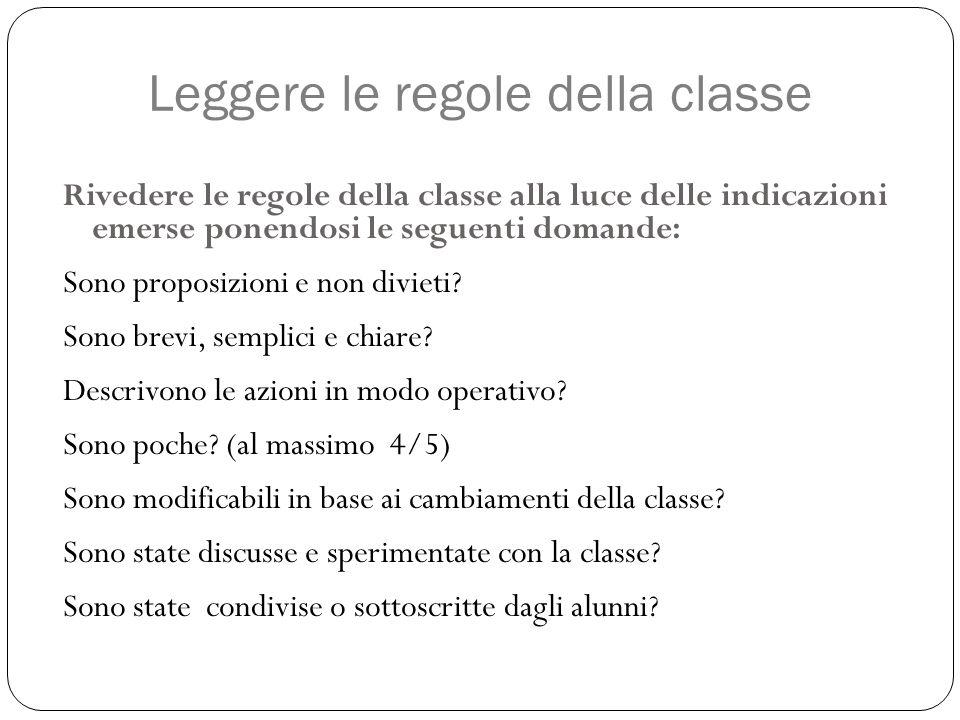 Leggere le regole della classe