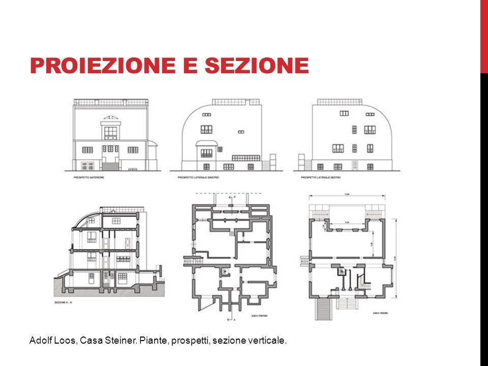 proiezione E SEZIONE Adolf Loos, Casa Steiner. Piante, prospetti, sezione verticale.