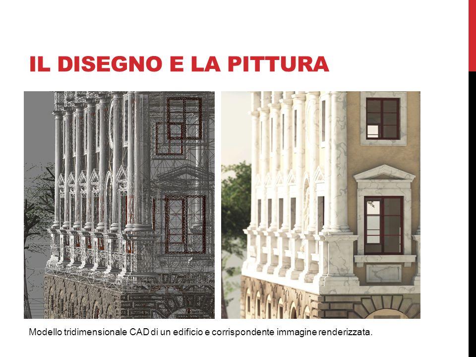 IL DISEGNO E LA PITTURA Modello tridimensionale CAD di un edificio e corrispondente immagine renderizzata.