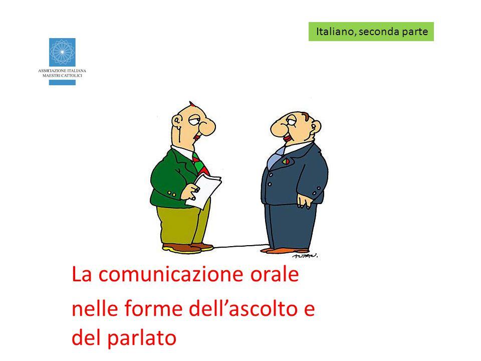 La comunicazione orale nelle forme dell'ascolto e del parlato