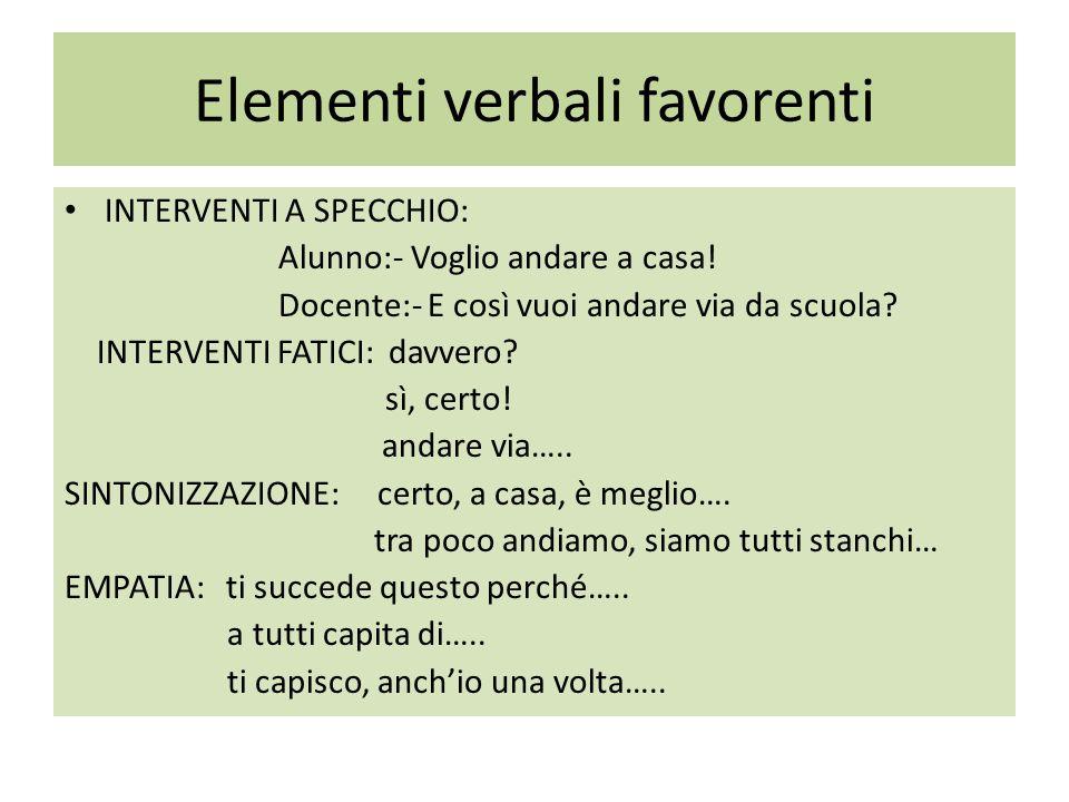 Elementi verbali favorenti