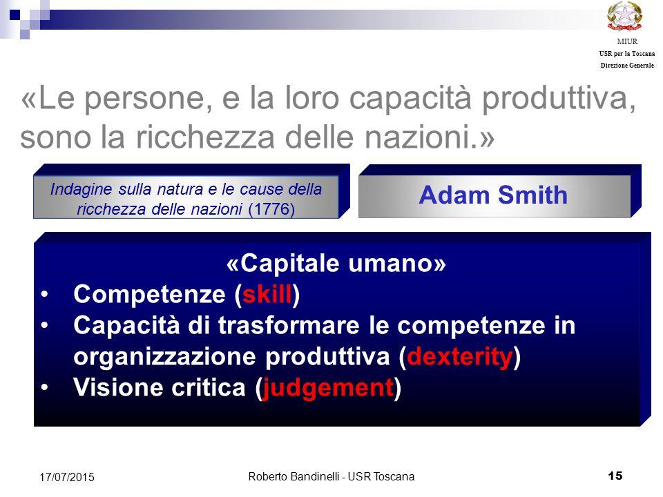 MIUR USR per la Toscana. Direzione Generale. «Le persone, e la loro capacità produttiva, sono la ricchezza delle nazioni.»
