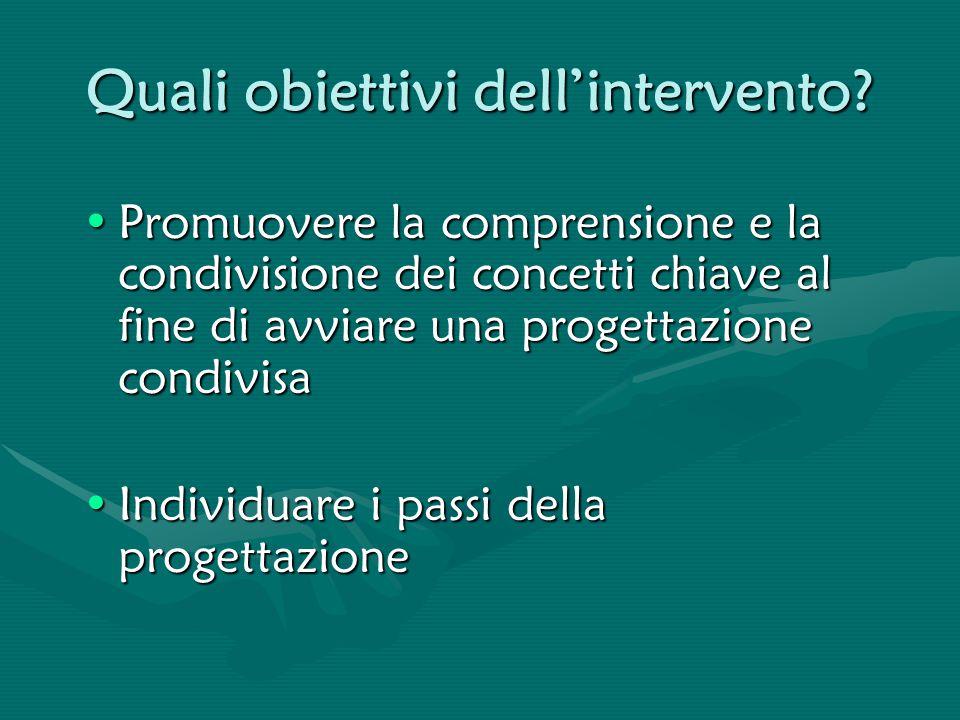 Quali obiettivi dell'intervento