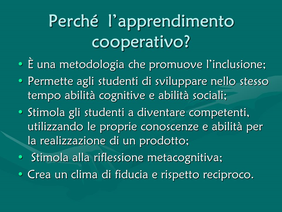 Perché l'apprendimento cooperativo