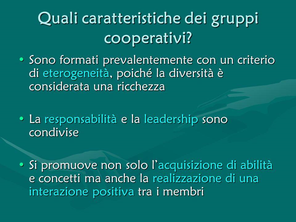 Quali caratteristiche dei gruppi cooperativi
