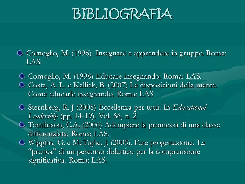 BIBLIOGRAFIA Comoglio, M. (1996). Insegnare e apprendere in gruppo. Roma: LAS. Comoglio, M. (1998) Educare insegnando. Roma: LAS.