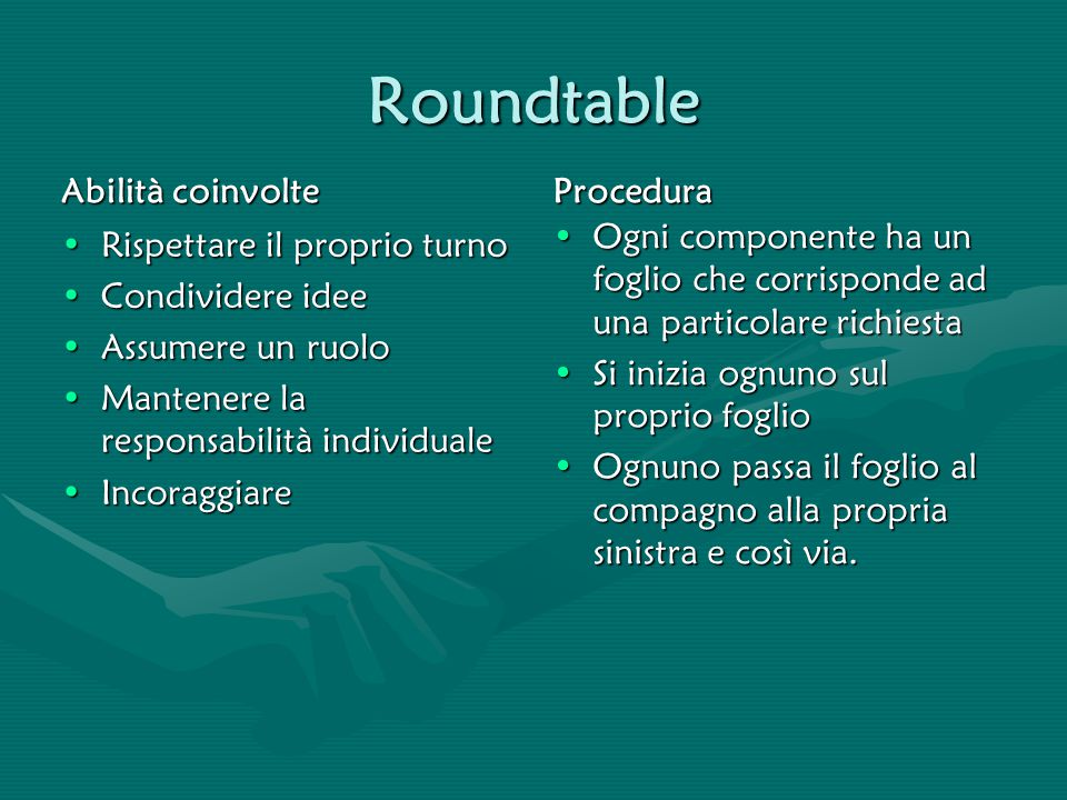 Roundtable Abilità coinvolte Procedura