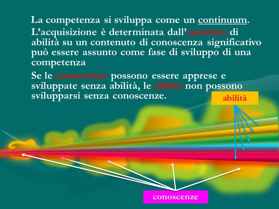 La competenza si sviluppa come un continuum.