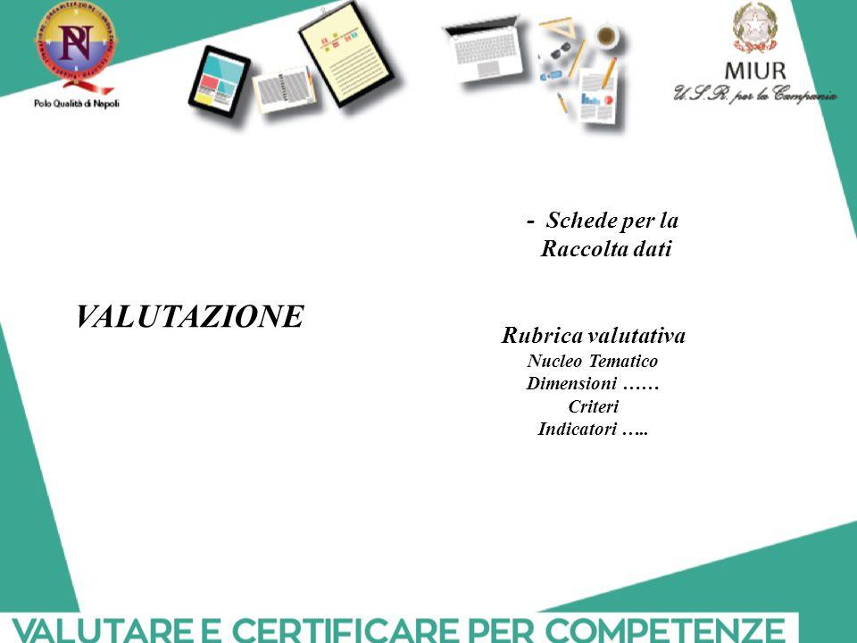 VALUTAZIONE - Schede per la Raccolta dati Rubrica valutativa
