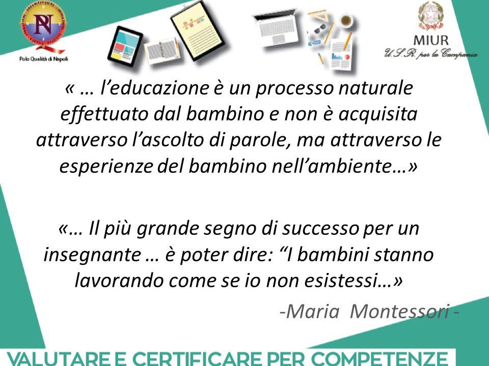 « … l'educazione è un processo naturale effettuato dal bambino e non è acquisita attraverso l'ascolto di parole, ma attraverso le esperienze del bambino nell'ambiente…» «… Il più grande segno di successo per un insegnante … è poter dire: I bambini stanno lavorando come se io non esistessi…» -Maria Montessori -