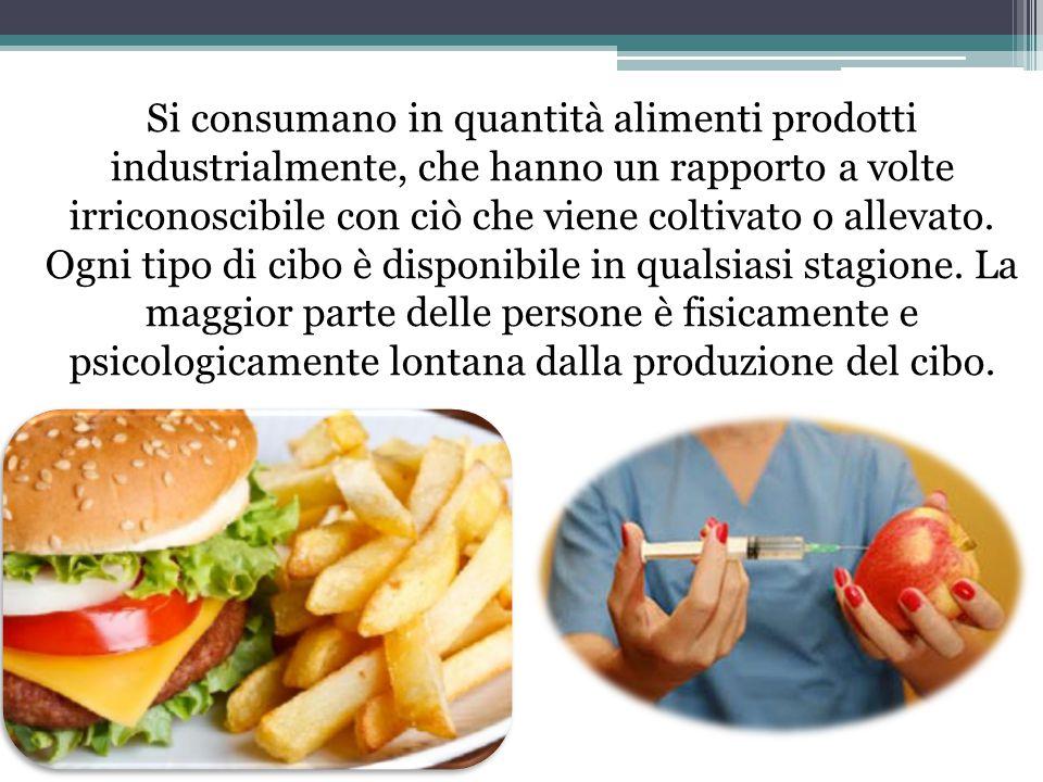 Si consumano in quantità alimenti prodotti industrialmente, che hanno un rapporto a volte irriconoscibile con ciò che viene coltivato o allevato.