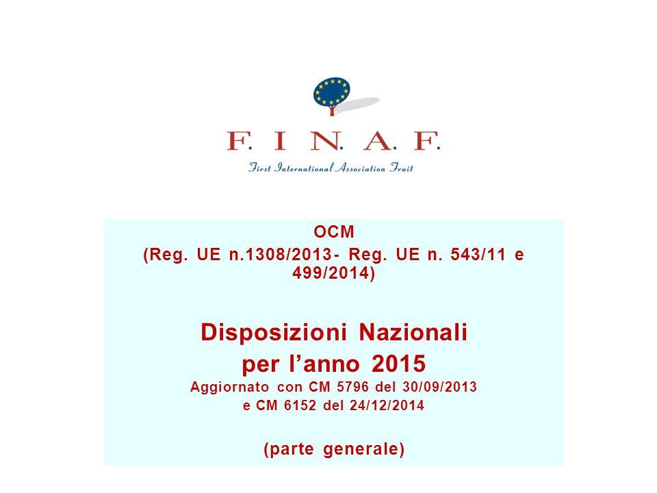 Disposizioni Nazionali Aggiornato con CM 5796 del 30/09/2013