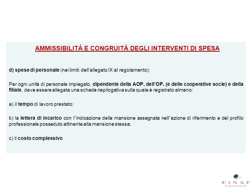 AMMISSIBILITÀ E CONGRUITÀ DEGLI INTERVENTI DI SPESA