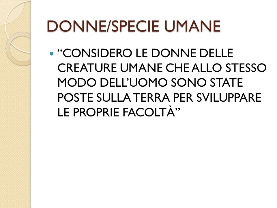 DONNE/SPECIE UMANE