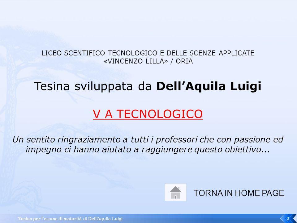 Tesina sviluppata da Dell'Aquila Luigi V A TECNOLOGICO