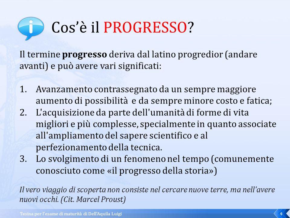 Cos'è il PROGRESSO Il termine progresso deriva dal latino progredior (andare avanti) e può avere vari significati: