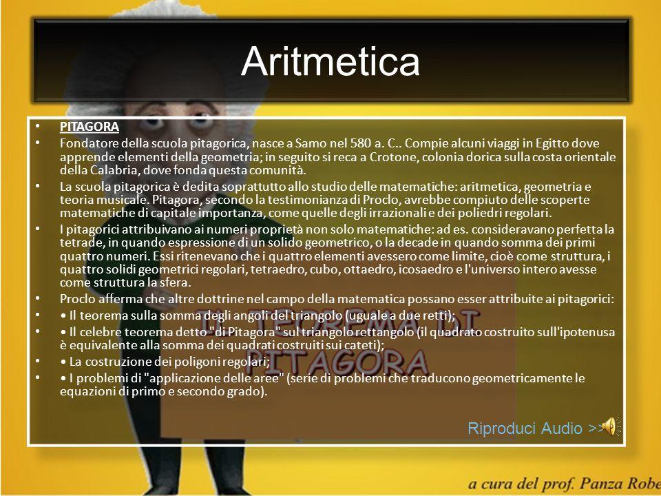 Aritmetica Riproduci Audio >> PITAGORA