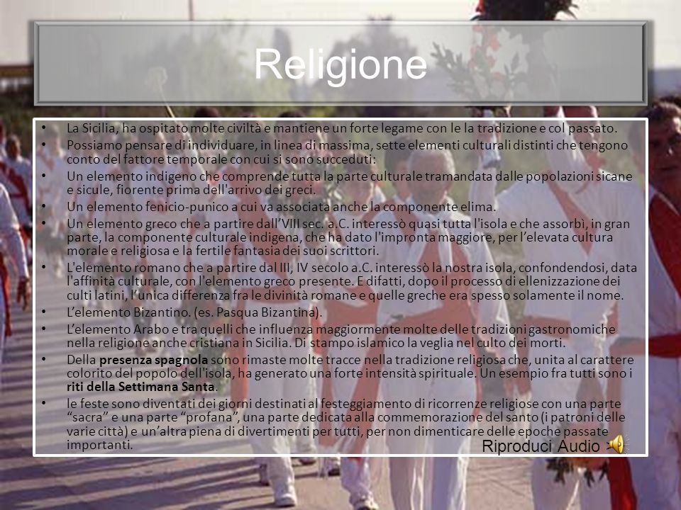 Religione Riproduci Audio >>