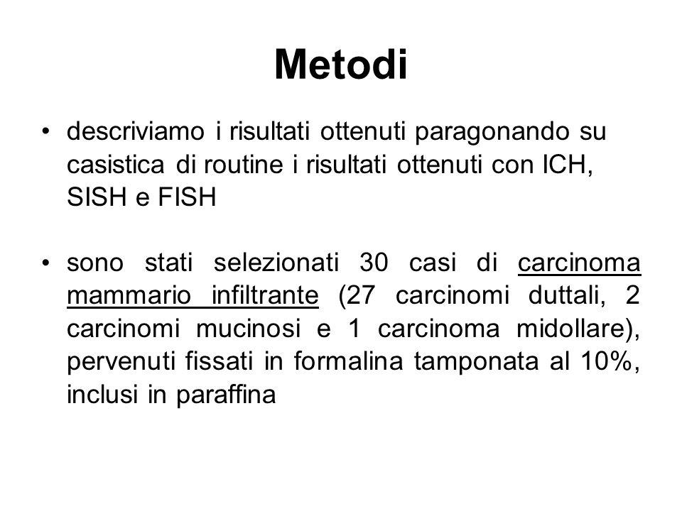 Metodidescriviamo i risultati ottenuti paragonando su casistica di routine i risultati ottenuti con ICH, SISH e FISH.