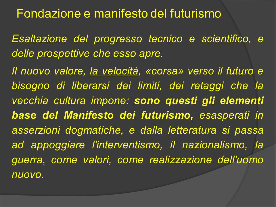 Fondazione e manifesto del futurismo