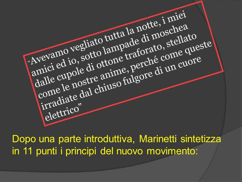 Dopo una parte introduttiva, Marinetti sintetizza in 11 punti i principi del nuovo movimento: